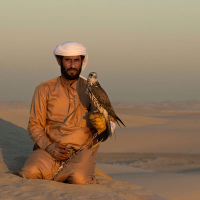 Bedouin Falconer with a Peregrine Falcon