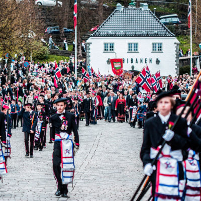 Young People Parading in the Centre of Bergen