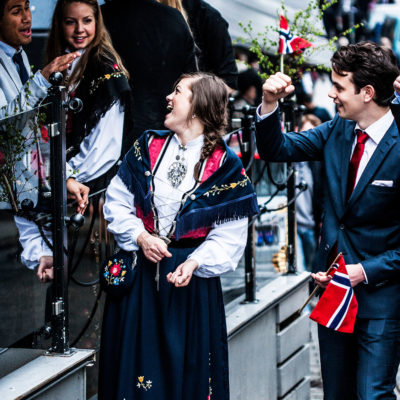 Young People Celebrating the Constitution Day along the Streets of Bergen