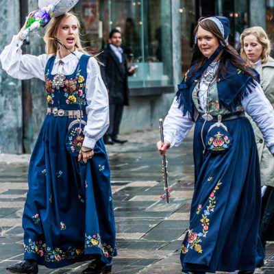Two Girls Wearing the Bunad, the Traditional Norwegian Costume, in Bergen