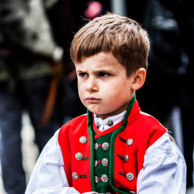 Norwegian Child Wearing the Traditional Costume in Marken, Bergen