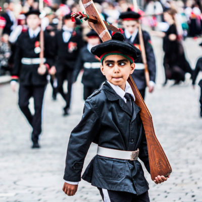 Child Marching in a Celebratory Parade in Bergen