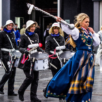 Celebratory Parade against the Wind on the Islands of Lofoten