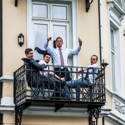 Students Enjoy the Constitution Day on the Balcony of their Flat in the Quarter of Sydnes