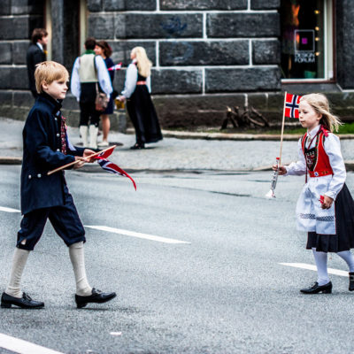 Children Wearing the Traditional Costume in Bergen