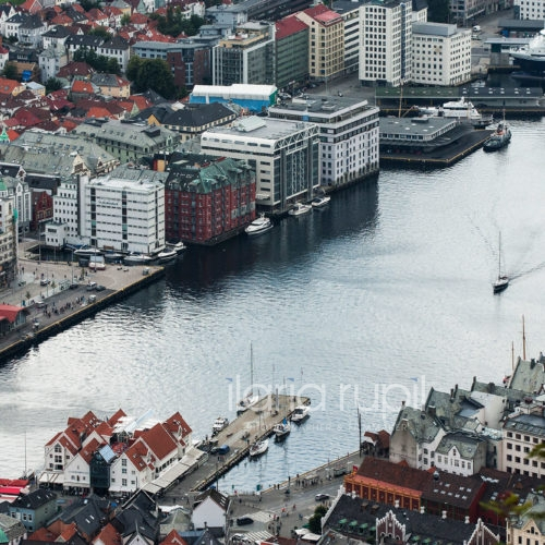 Bryggen and Fisketorget (Fish Market) Wharf, Sight from Fløyen