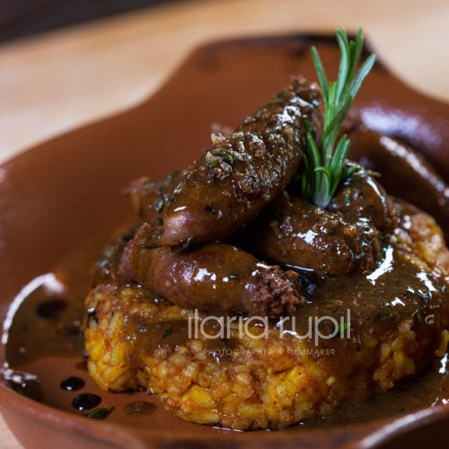 Toasted Saffron Rice and Stewed Sausages